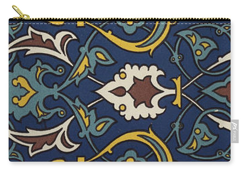 Ornament Carry-all Pouch featuring the drawing Turkish Textile Pattern by Turkish School