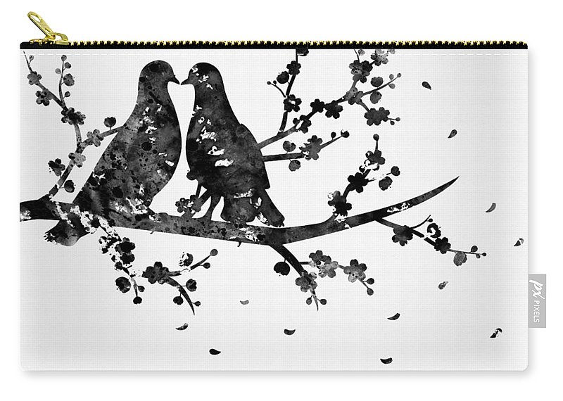 Two Birds On A Flowering Branch Carry-all Pouch featuring the digital art Two Birds-black by Erzebet S