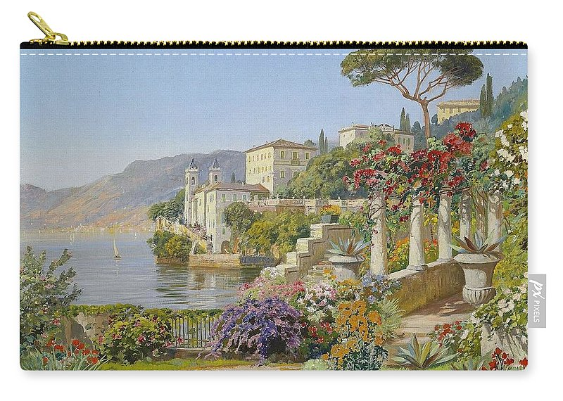 Alois Arnegger (1879-1963) View Of A Lake In The South Carry-all Pouch featuring the painting View Of A Lake In The South by Alois Arnegger