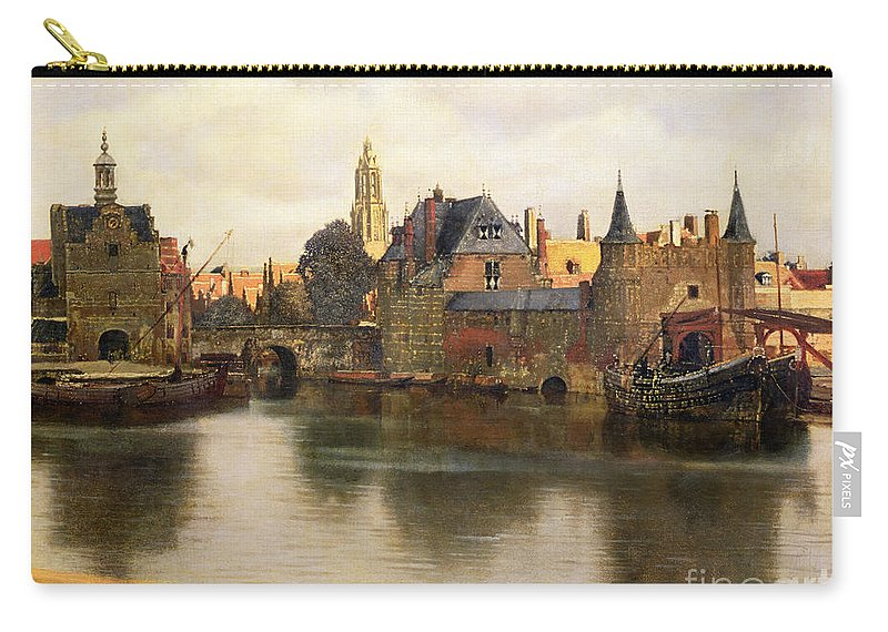 View Carry-all Pouch featuring the painting View Of Delft by Jan Vermeer
