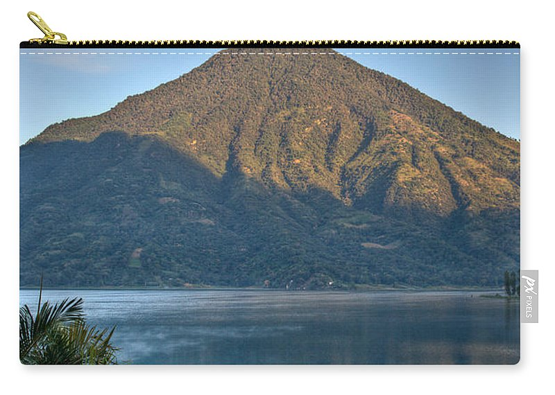 Volcano Carry-all Pouch featuring the photograph Volcano And Reflection Lake Atitlan Guatemala by Douglas Barnett
