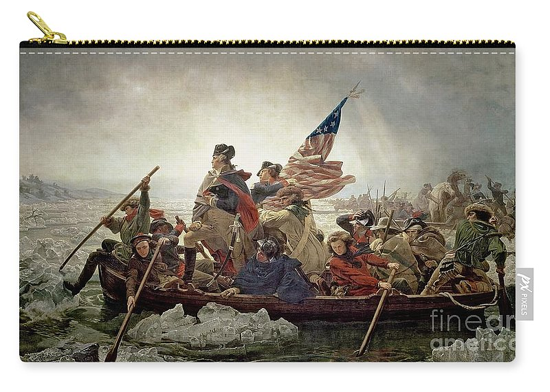 American War Of Independence; Ice Floes; Boats; Flag; American; Floe; Boat; Rowing; Banner; Flag; Colonial Troops; Troop; Winter; Army; American Revolutionary War; Battle Of Trenton; Stars And Stripes; Intrepid; Brave; New Jersey; Soldiers; Male; Military Uniform; Emanuel Gottlieb Leutze Carry-all Pouch featuring the painting Washington Crossing The Delaware River by Emanuel Gottlieb Leutze
