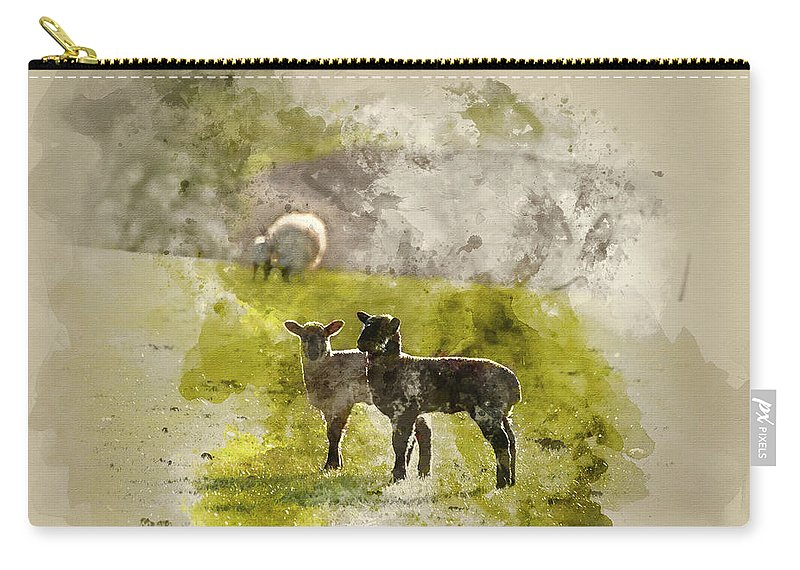 Landscape Carry-all Pouch featuring the photograph Watercolor Painting Of Beauitful Landscape Image Of Newborn Spri by Matthew Gibson