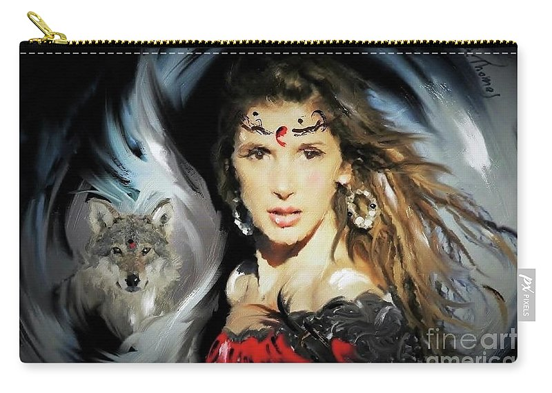 Wolf Carry-all Pouch featuring the digital art Wolf Totem by Alex Thomas
