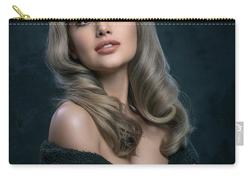 Hollywood Glam Look Carry-all Pouch featuring the photograph Woman In Big Curls Hollywood Glam Look by Erich Caparas
