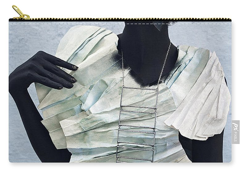 Black Carry-all Pouch featuring the photograph Woman With Black Boby Paint In Paper Dress by Veronica Azaryan