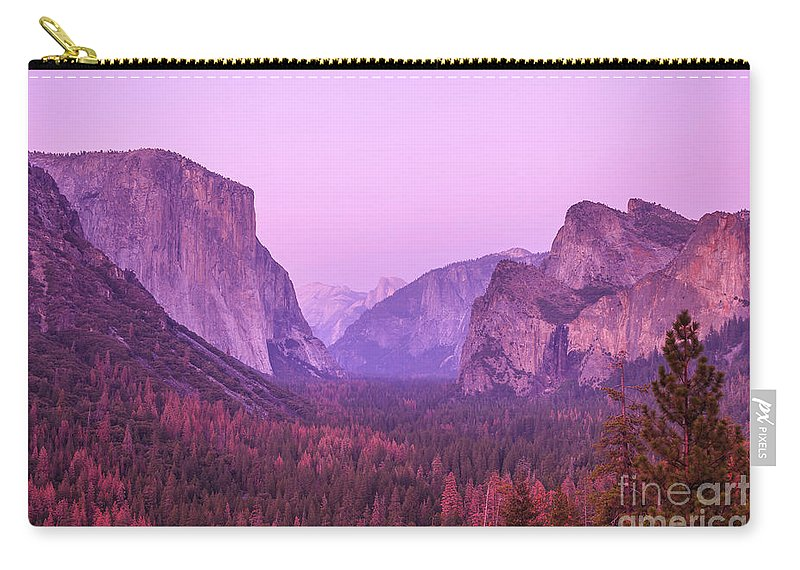 Yosemite Carry-all Pouch featuring the photograph Yosemite Pink Sunset by Benny Marty