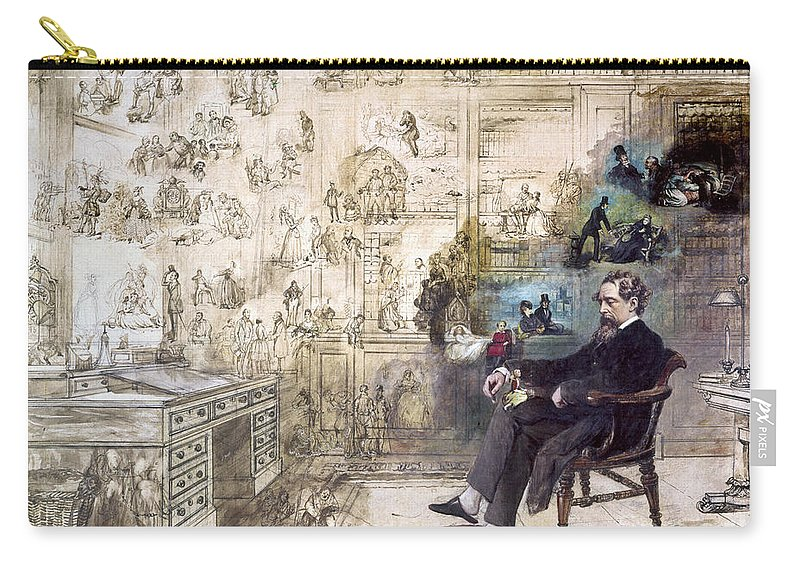 1870s Carry-all Pouch featuring the photograph Charles Dickens 1812-1870. To License For Professional Use Visit Granger.com by Granger