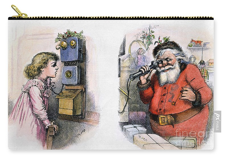 1884 Carry-all Pouch featuring the photograph Thomas Nast: Santa Claus by Granger