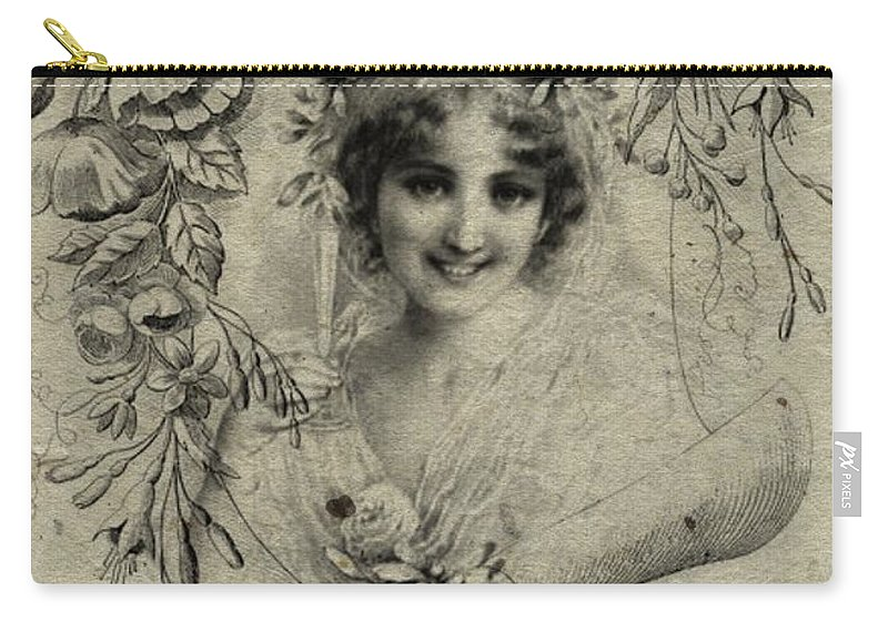 Vintage Carry-all Pouch featuring the drawing Vintage by FL collection