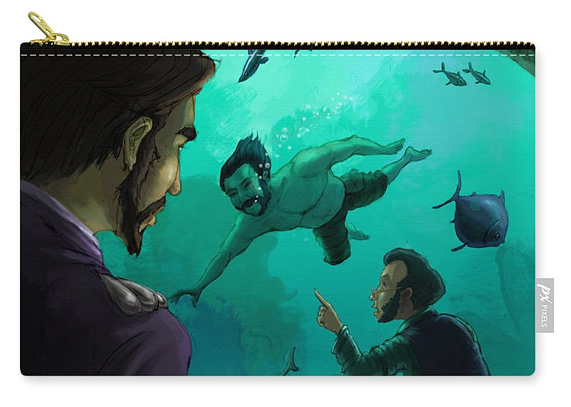 Jules Verne Carry-all Pouch featuring the digital art 20000 Leagues Under The Sea by Andy Catling