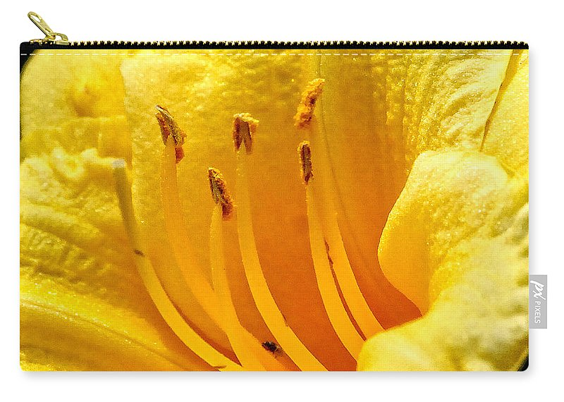 Yellow Carry-all Pouch featuring the photograph 2008 Daylily by Arvydas Zilys