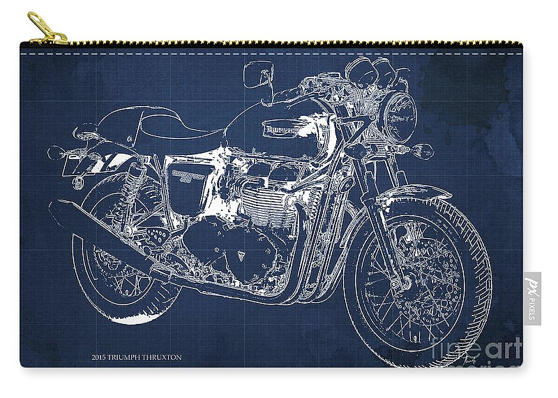 2015 Carry-all Pouch featuring the painting 2015 Triumph Thruxton Blueprint Blue Background by Drawspots Illustrations