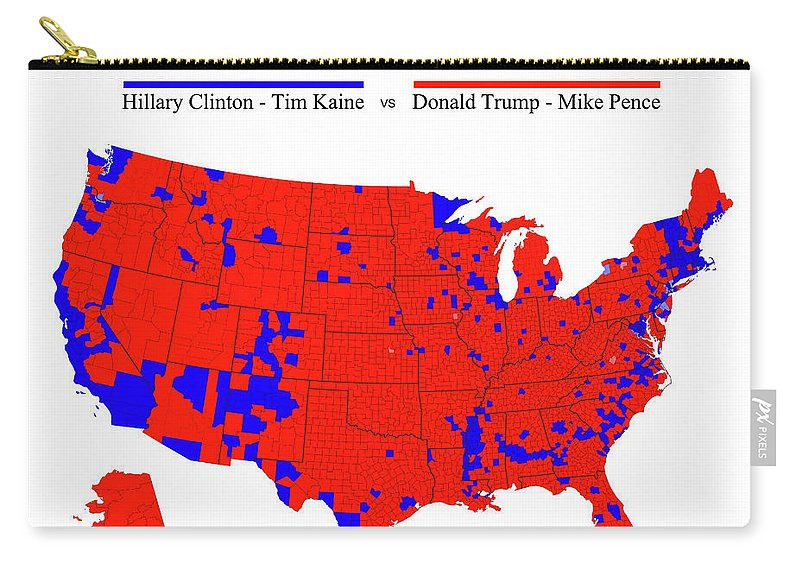 2016 Election Carry-all Pouch featuring the digital art 2016 Trump - Pence Vs Clinton - Kaine Election Map - Black Border by Daniel Hagerman