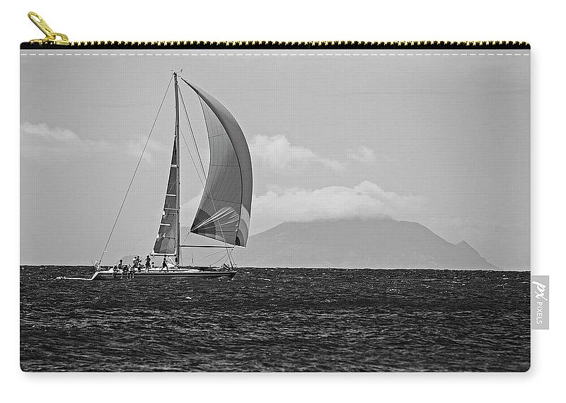 2017 Carry-all Pouch featuring the photograph 2017 Heineken Regatta Sailing Past Saba Saint Martin Sint Maarten Red Sail Black And White by Toby McGuire