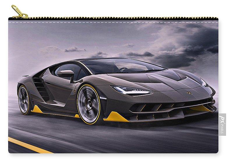 Lamborghini Carry-all Pouch featuring the photograph 2017 Lamborghini Centenario by Movie Poster Prints