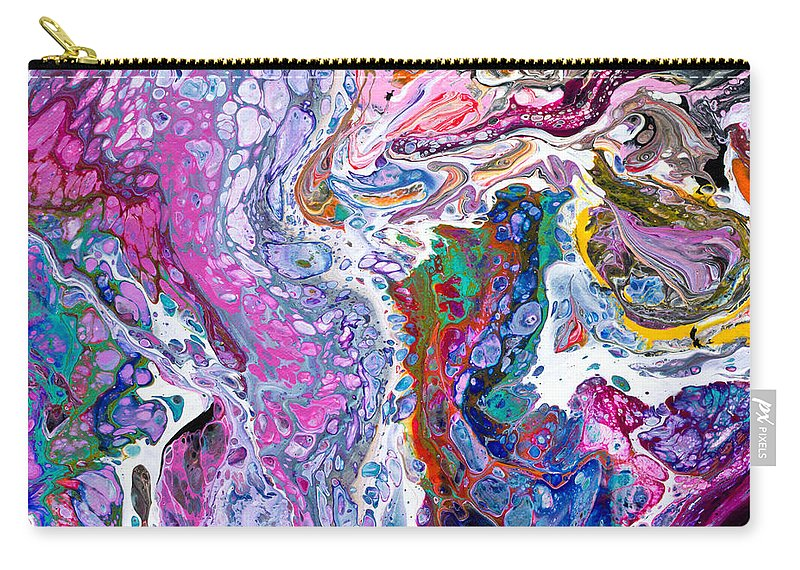 Vibrant Colorful Funky Original Contemporary Blue And Purple Dominate Joined By Every Other Color And Black And White Accents Carry-all Pouch featuring the painting #217 Strange Pour Fav by Priscilla Batzell Expressionist Art Studio Gallery