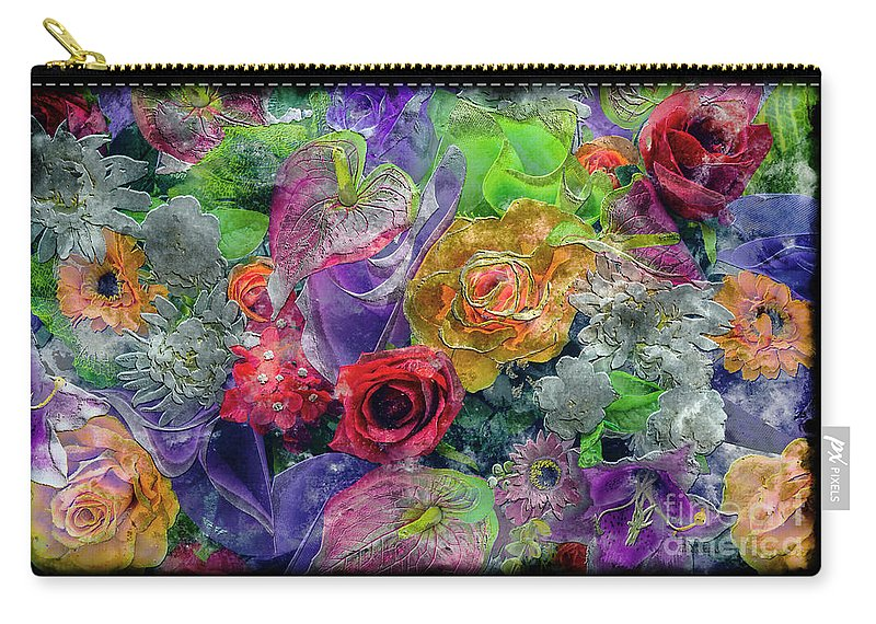 Abstract Carry-all Pouch featuring the painting 21a Abstract Floral Painting Digital Expressionism by Ricardos Creations