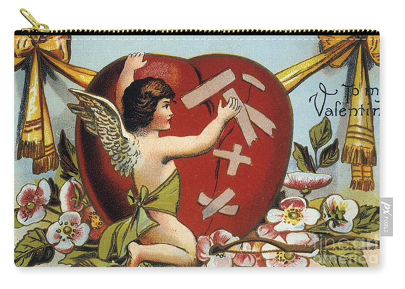 1914 Carry-all Pouch featuring the photograph Valentines Day Card by Granger