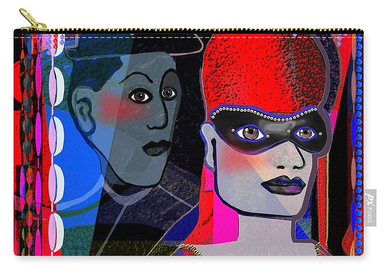 Sphinx Carry-all Pouch featuring the painting  224  Mardi Gras A by Irmgard Schoendorf Welch