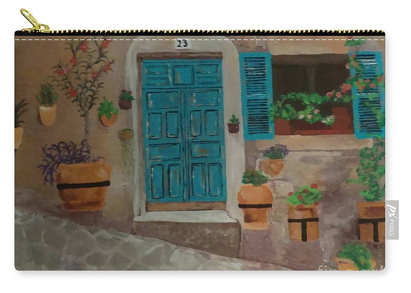 Blue Carry-all Pouch featuring the painting 23 by Kelly Delvalle