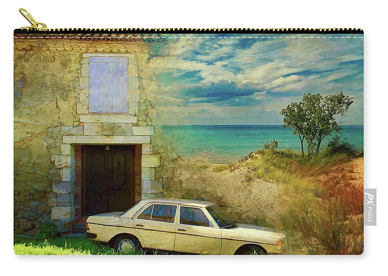Beach Carry-all Pouch featuring the mixed media 24 Hr Parking By The Beach by Clive Littin