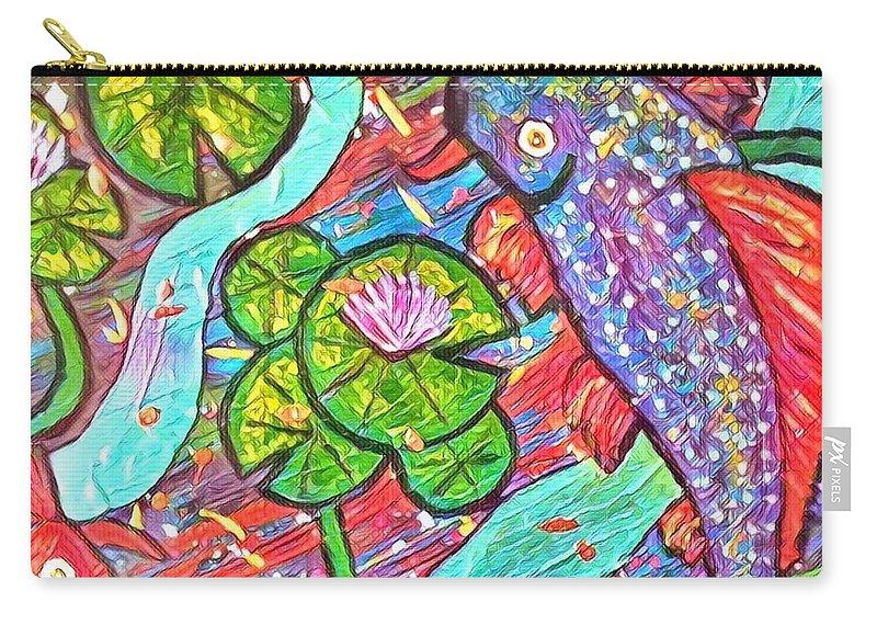 Carry-all Pouch featuring the digital art Koi Fish by Melinda Sullivan Image and Design