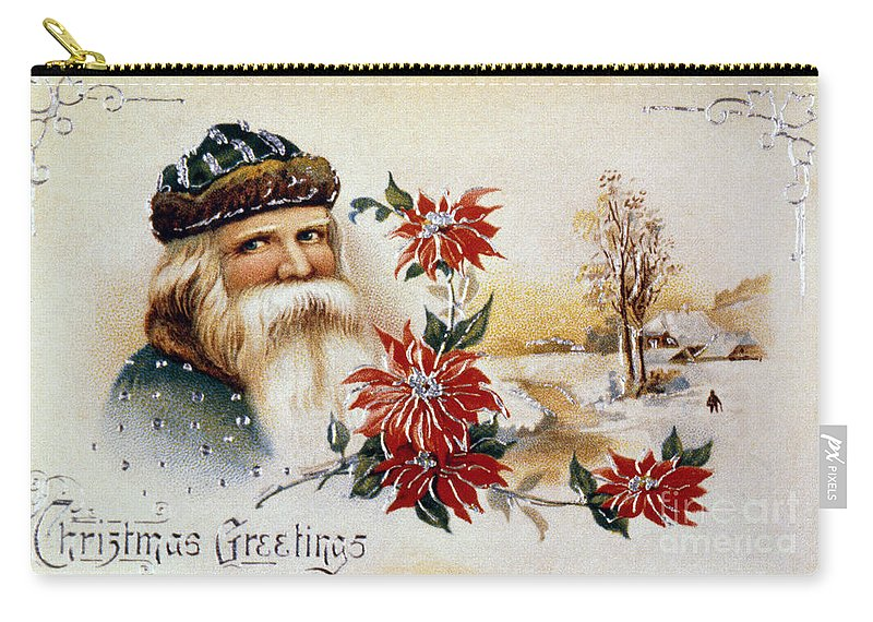 19th Century Carry-all Pouch featuring the photograph American Christmas Card by Granger