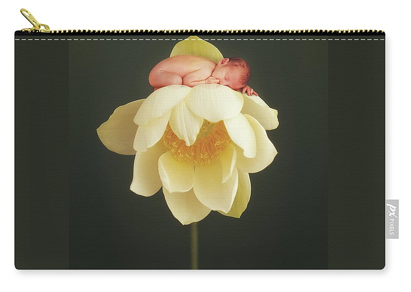 Water Lily Carry-all Pouch featuring the photograph Lotus Bud by Anne Geddes