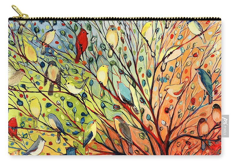 Bird Carry-all Pouch featuring the painting 27 Birds by Jennifer Lommers