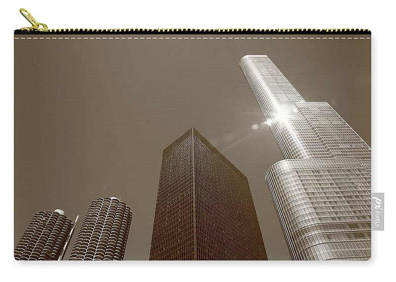 America Carry-all Pouch featuring the photograph Chicago Skyscrapers by Frank Romeo