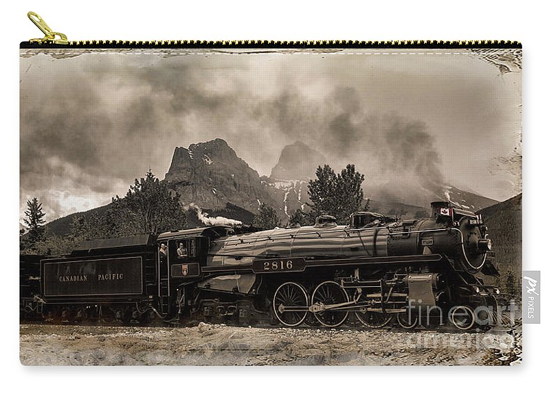 Alberta Carry-all Pouch featuring the photograph 2816 Empress At Three Sisters - Canmore by Brad Allen Fine Art
