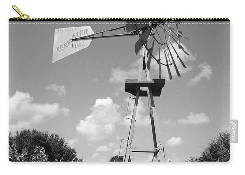 Black And White Carry-all Pouch featuring the photograph Aermotor Windmill by Rob Hans