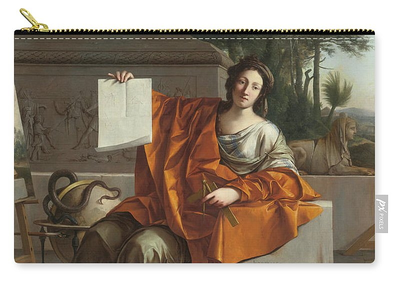 Laurent De La Hyre (french Carry-all Pouch featuring the painting Allegory Of Geometry by MotionAge Designs