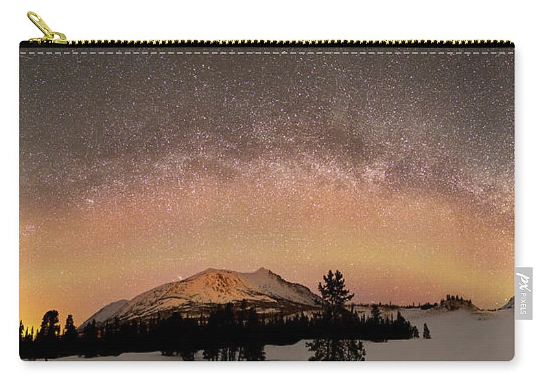 Horizontal Carry-all Pouch featuring the photograph Aurora Borealis And Milky Way by Joseph Bradley