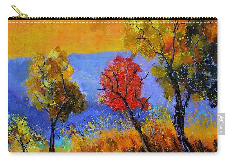 Landscape Carry-all Pouch featuring the painting Autumn Colors by Pol Ledent