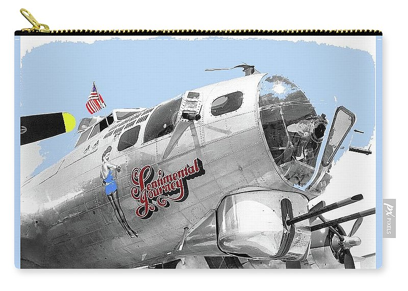 B-17g Flying Fortress Sentimental Journey 2 Avra Valley Arizona 1991 Color Added 2008 Carry-all Pouch featuring the photograph B-17g Flying Fortress Sentimental Journey 2 Avra Valley Arizona 1991 Color Added 2008 by David Lee Guss