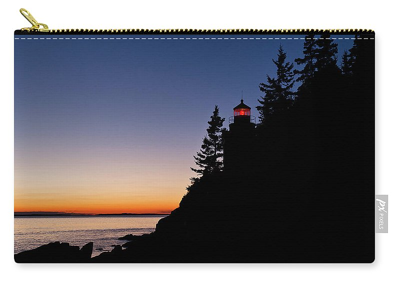 Bass Harbor Carry-all Pouch featuring the photograph Bass Harbor Lighthouse by John Greim