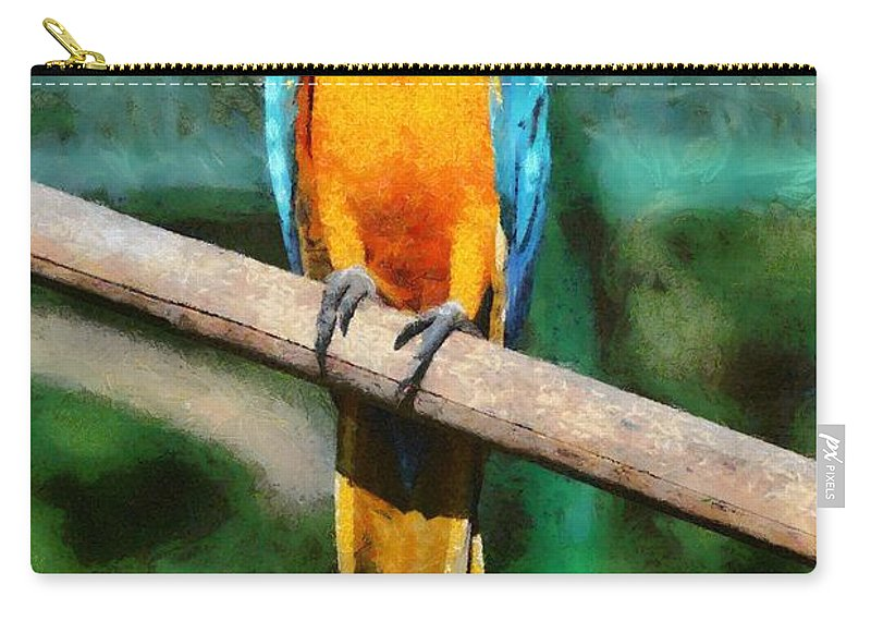 Blue And Gold Macaw Carry-all Pouch featuring the painting Blue And Gold Macaw by George Atsametakis