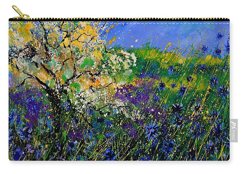 Flowers Carry-all Pouch featuring the painting Blue Cornflowers by Pol Ledent