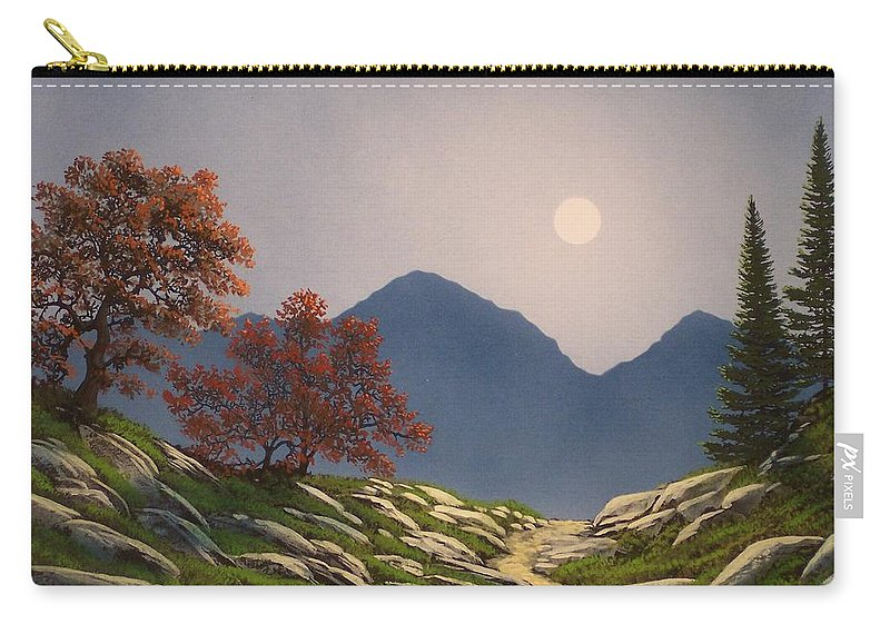 Mountains Carry-all Pouch featuring the painting By The Light Of The Moon by Frank Wilson