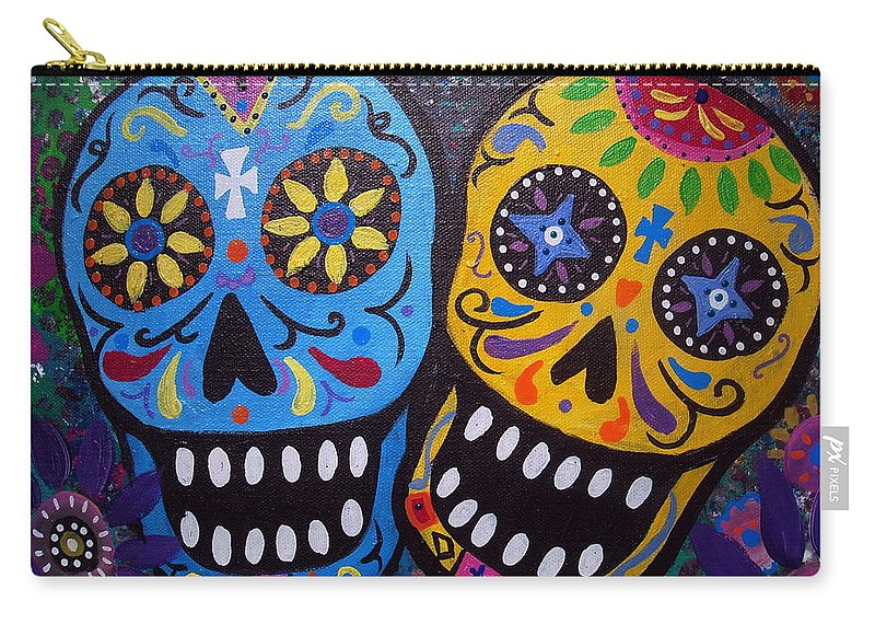 Whimsical Carry-all Pouch featuring the painting Couple Day Of The Dead by Pristine Cartera Turkus