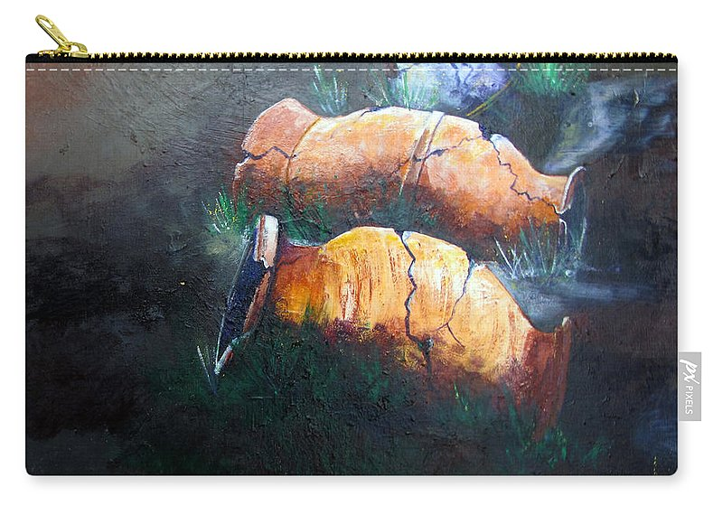Urns Carry-all Pouch featuring the painting 3 Cracked Urns by Gary Smith