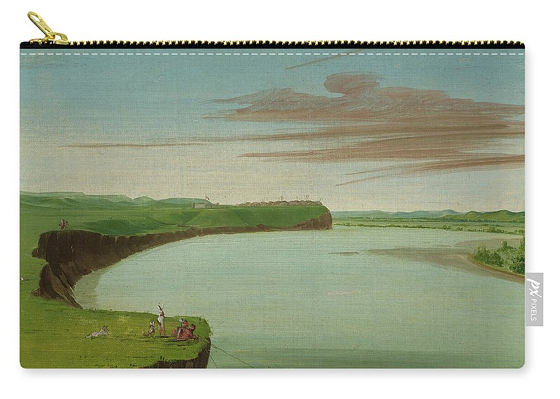 Native America Carry-all Pouch featuring the painting Distant View Of The Mandan Village by George Catlin