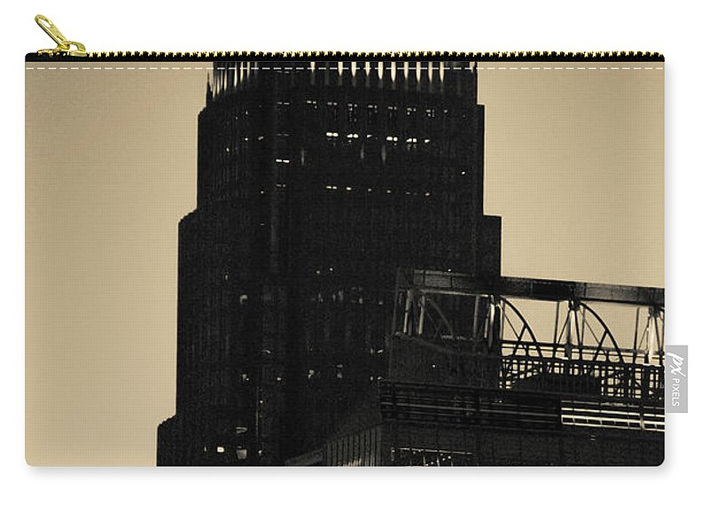 Sunset Carry-all Pouch featuring the photograph Early Morning Sunrise Over Charlotte North Carolina Skyscrapers by Alex Grichenko