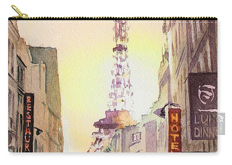 Evening In Paris Carry-all Pouch featuring the painting Eiffel Tower Paris France by Irina Sztukowski