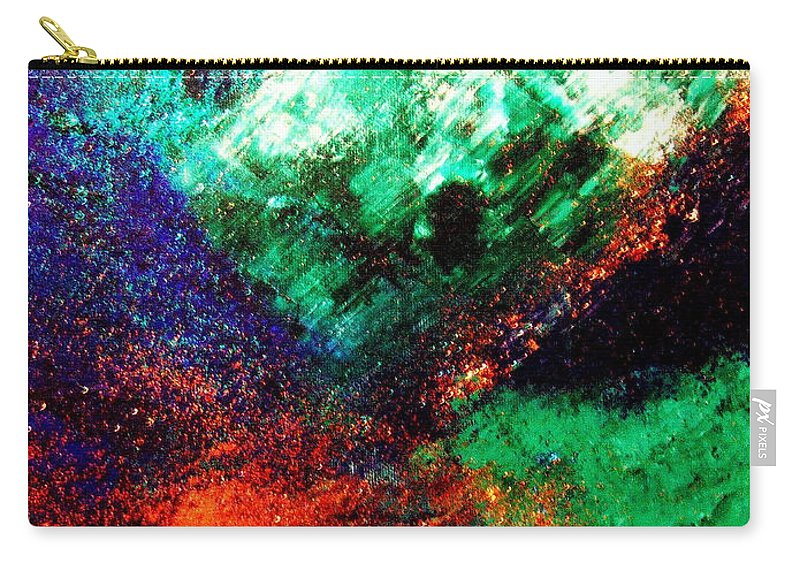 Gaia.earth.sky.land Carry-all Pouch featuring the painting Gaia Symphony by Kumiko Mayer