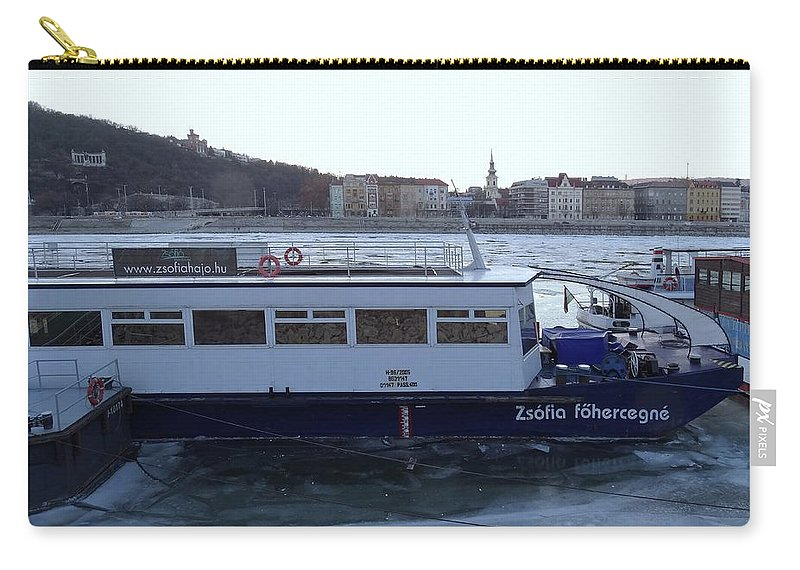 Danube Carry-all Pouch featuring the photograph Genre Picture By Frozen Danube by Explorer Lenses Photography