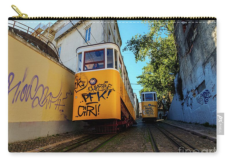 Gloria Carry-all Pouch featuring the photograph Gloria Funicular, Lisbon, Portugal by Karol Kozlowski