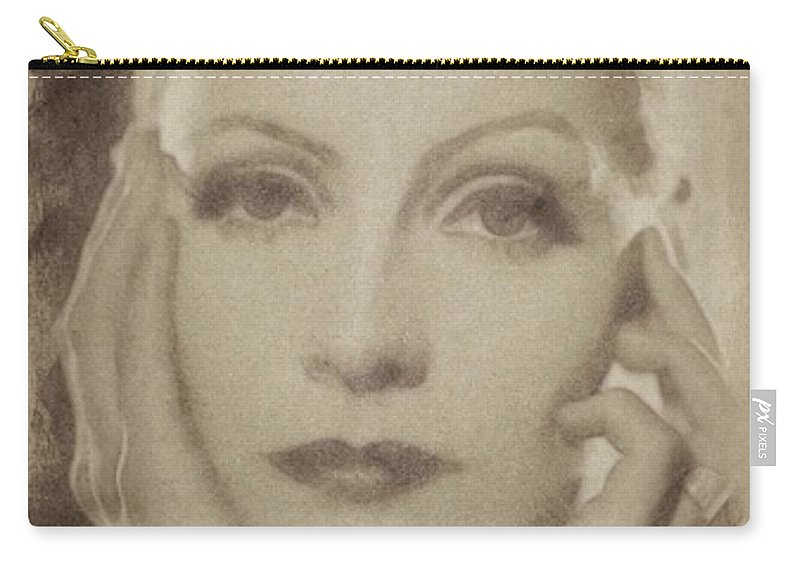 Classic Carry-all Pouch featuring the pastel Greta Garbo, Vintage Hollywood Actress by John Springfield